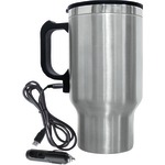 16-Ounce Stainless Steel Heated Travel Mug with 12-Volt Car Adapter